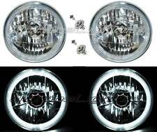 "7"" Halogen H4 12V Headlight Headlamp White LED Halo Angel Eyes Light Bulbs Pair"