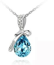 CRYSTAL  BLUE ANGEL TEAR  PENDANT NECKLACE  UK FAST DELIVERY