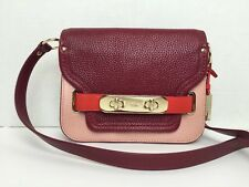 NWT Coach 36255 Swagger Crossbody in Pebble Leather Black Cherry $350