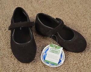 NWT New Lands' End Toddler Girls 7 Brown Suede Mary Jane Shoe Hook Loop Tape