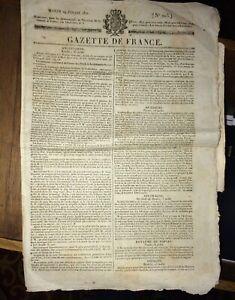 JOURNALRESTAURATION FRANÇAISE.GAZETTE DE FRANCE.1820-1821.  DEUX NUMÉROS.