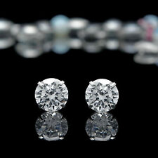 2.50ct Created Diamond Stud Earrings 14K Solid White Gold Round Solitaire 7mm