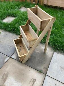 3 TIER Freestanding Wooden Flower Planter, Autumn Winter Bedding, Feature, Gift