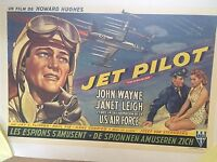"JOHN WAYNE BELGIAN 1957 RARE ORIGINAL STUNNING"" JET PILOT"" MOVIE POSTER ON LINEN"