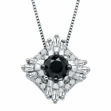 3/8 ct Black & White Diamond Pendant in 10K White Gold