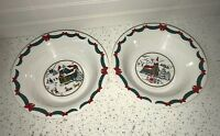 Christmas bowls with a house and carolers  in the center  - Holiday Dining Dish