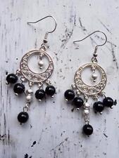 ER34 black agate chandelier dangle drop earrings