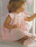 "Baby Girls Cinderella Dress and Shoes Crochet Pattern 3ply 18-21""  934"