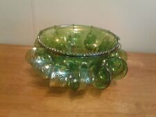 INDIANA GREEN CARNIVAL GLASS PUNCH BOWL AND 12 HOOKS AND CUPS
