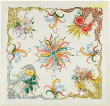 """GUCCI ivory FOUR SEASONS Ladies feathers & jewels SIGNED silk 35"""" Scarf NWT Auth"""