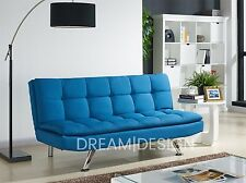 Fabric Sofa Bed 3 Seater Padded Sofabed Chrome Legs Cube Design Various Colours Blue