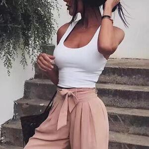 Womens Ladies Plain Sleeveless Strappy Cami Bralet Bra Summer Crop Top Vest