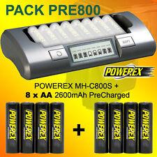 PACK PRE800 - Powerex MH-C800S Ladegeräte + 8 AA 2600 PreCharged Akkus