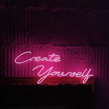 New Create Yourself Neon Sign Acrylic Light Man Cave Open Bar With Dimmer