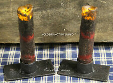 "TWO Primitive BURNT BURGUNDY 4"" Battery Operated TIMER DRIP Taper Candles"