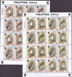 Philippines BIRDS WWF Owl with 2 TONED Color in sheetlet/16 Mint NH