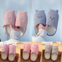 Women's Cute Cartoon Bear Slippers Soft Plush Autumn Winter Warm Indoor Shoes
