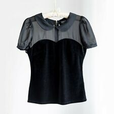 Women's Velvet Sheer Round-Collared Top – Size S Black - Immaculate condition