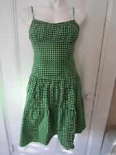 Nanette Leopore Bright Green Tiered Dress Black Polka Dots Corset Tie Back Sz 2