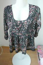 YESSICA tolle Tunika floral schwarz rot auch Umstandskleidung oder Gothic 40/42