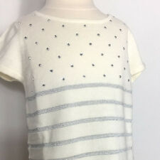 NWT Design History Girls Top Pearl Colored With Metallic Studs & Stripes Size 4