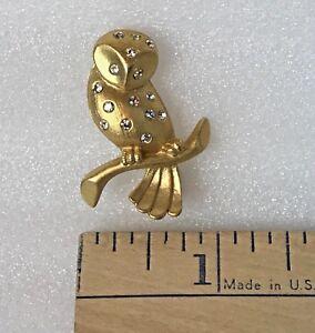 New 1 x  Gold Plated Rhinestone 2 Owls Brooch G32