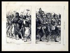 Turcos ALGERINI Landwehr Austria-Ungheria ESERCITI 1870 Vittoriano incisioni