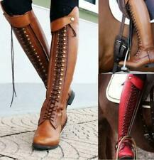 Womens Knight Rivet Spike Ridding Boots Knee High Cuban Heels Retro Oxford Shoes