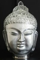 Buddha Kopf / Statue / Feng Shui / Silber / Indien / 19 cm / Dekoration / Glas