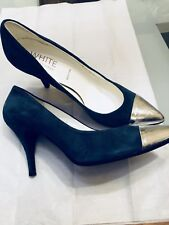 Ron White Blue Suede High Heel Pumps W Silver Front, Size 40/9.5