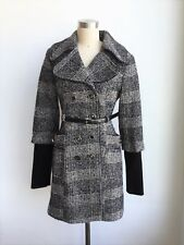 DEPT Clothing Black Trench Woolblend Coat Women Small $339