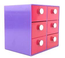 Vintage Purple & Red Desktop Plastic Box 6 Small Drawers White Knobs Drawer Box