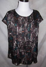 New Talbots Top Blouse Size 10 Blurry Abstract Print Pleats