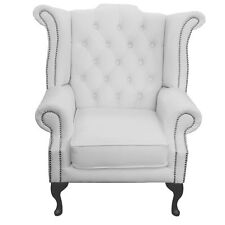 Chesterfield Queen Anne High Back Armchair Shelly White Genuine Leather UK