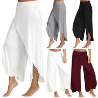 Womens Split Skirt Palazzo Pants Yoga Dress Long Loose Wide Leg Chiffon Trousers
