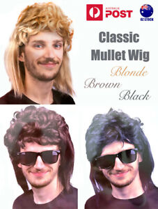 Mens Mullet Wig Straight Back Party Wigs 70s 80s Costume Cosplay Rock Adults