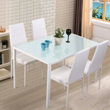 Tempered Glass Dining Table Set and 4 Chair Faux Leather Modern White Chrome Leg
