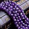 "Natural Round Jewelry Amethyst Loose Gemstone Stone Beads Strand 15"" 4-12mm"