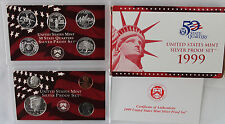 1999 S SILVER Proof Set US Mint ANNUAL 9 Coins with Box and COA + State Quarters
