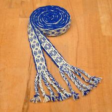 Gewandung Mittelalter Reenactment brettchengewebter Gürtel Wolle blau-natur 2m