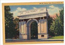 VICTORY ARCH Monument Newport News VA Postcard Vintage Virginia Linen Unused