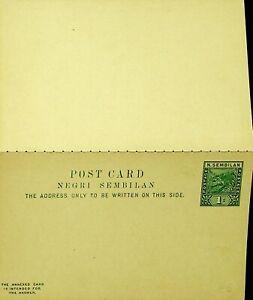 MALAYA NEGRI SEMBILAN UNUSED 1c TIGER POSTAL STATIONERY REPLY CARD