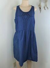 Old Navy Jeans dress size xl blue sleeveless shift eyelet womens denim wear