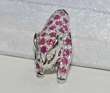 Argento Sterling (925) vero Rubino e Diamante Panther/ciondolo gatto Leopardo/