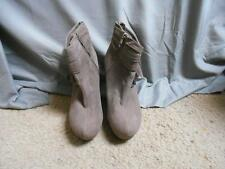 "Bamboo Charli-03 zip tan 5"" wedge heel short boots women's size 9M"