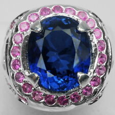 REMARKABLE AAA BLUE SAPPHIRE MAIN STONE 3.9 CT. & RUBY 925 SILVER RING SIZE 5.75