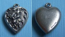 "Vintage calla lily flower ""Pauline"" puffy heart sterling charm"