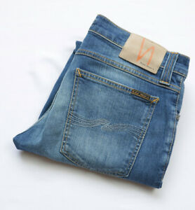 Nudie Tight Long John Skinny Jeans mens size W30 L31 S Small blue ZIP Fly