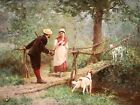 EDMOND RUDAUX (1840-1908) LARGE SIGNED FRENCH 1878 OIL PANEL - THE ENCOUNTER