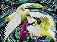 SALE! Egrets & Swirl Barkcloth Vintage Fabric Pillows Bags Rare Miami Beach Bird